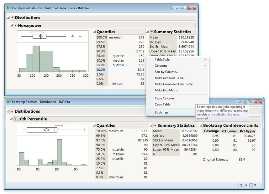 Boostrapping in JMP Pro 12