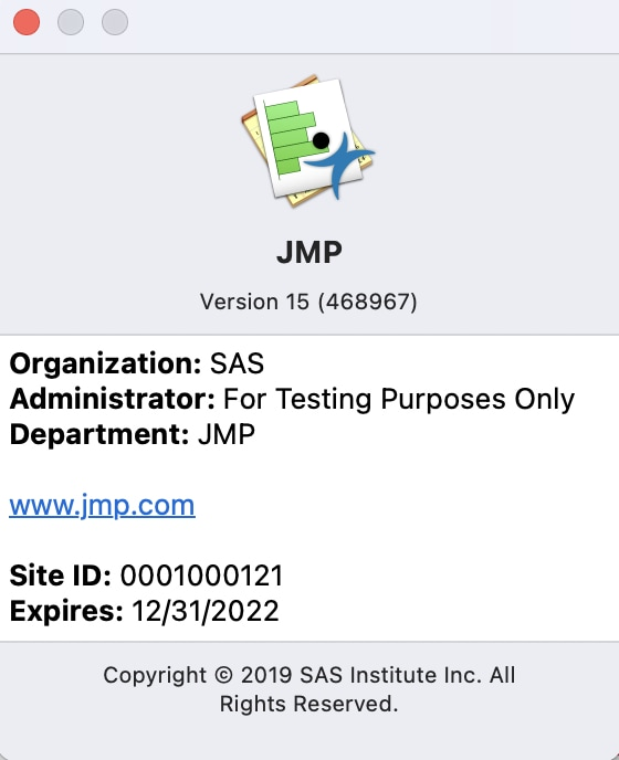 Site ID Location in JMP 16 for Mac