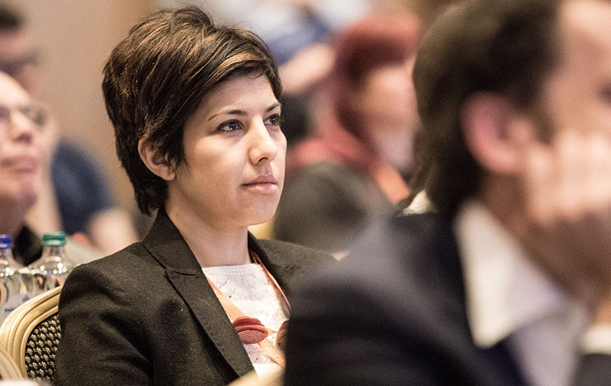 Attendee during John Sall plenary at Discovery Summit Europe 2016.