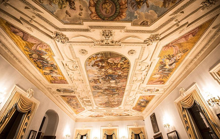 Decorative ceiling at Lobkowicz Palace