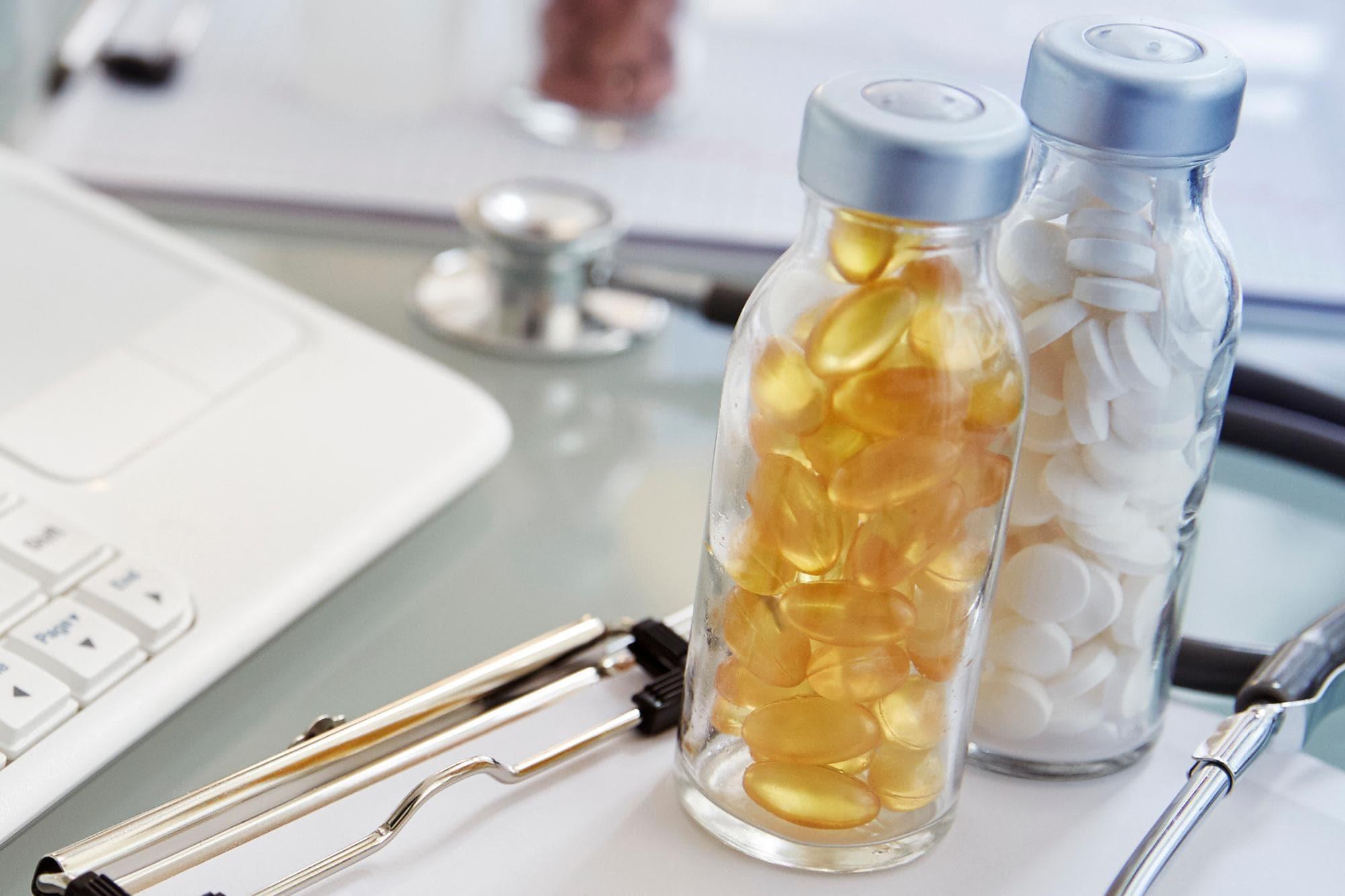 Pills on laboratory desk