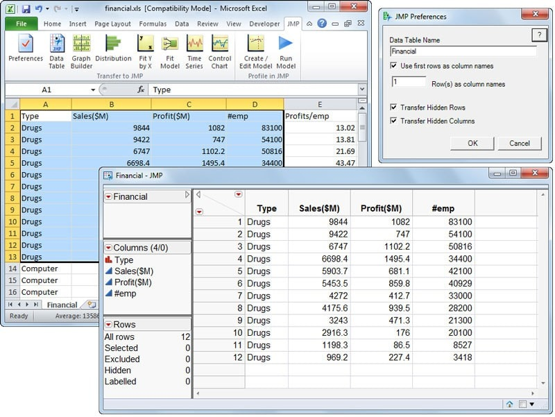 Import Excel data into JMP