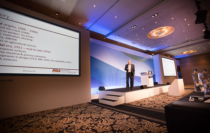 Douglas Montgomery conducts the Plenary Session at JMP Discovery Summit Europe in Amsterdam
