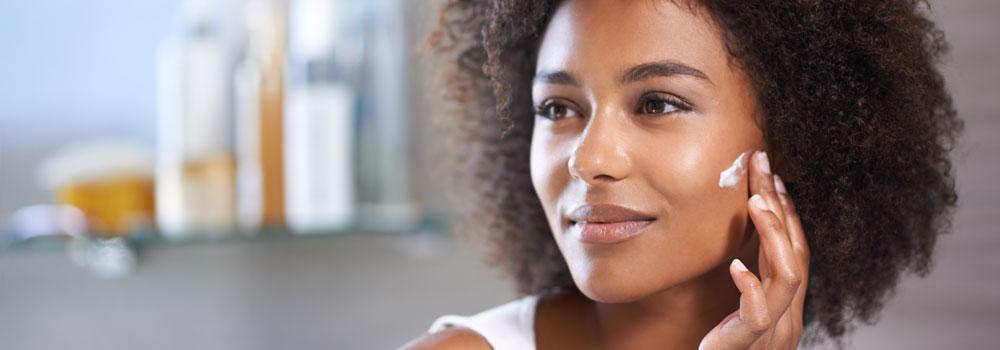 Woman using cosmetics