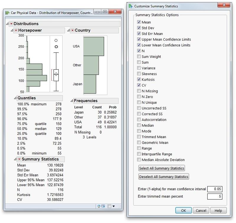 Customize summary statistics
