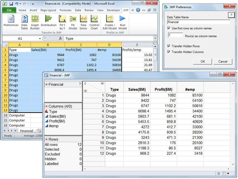 Import Excel data into JMP
