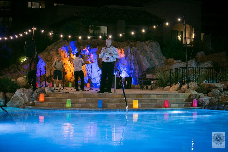 John Sall speaking by Westin pool