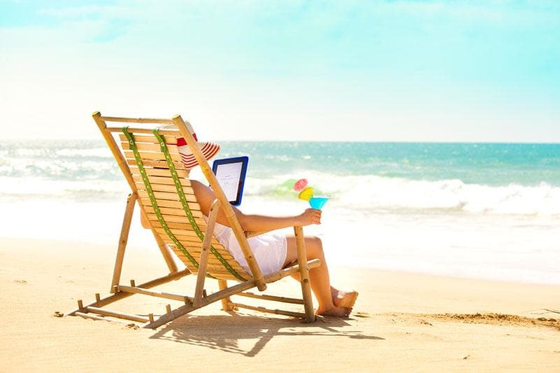 E-reader on Beach