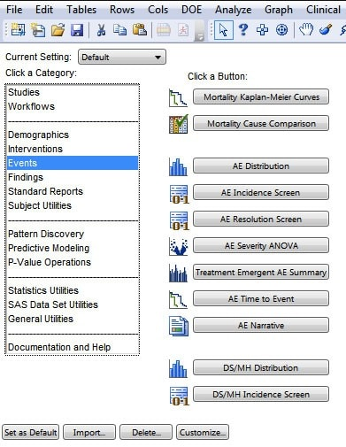 Data visualization and analysis starter menu