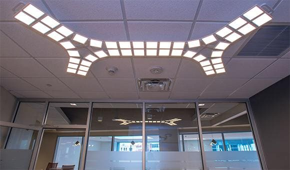 Office lighted with Oled