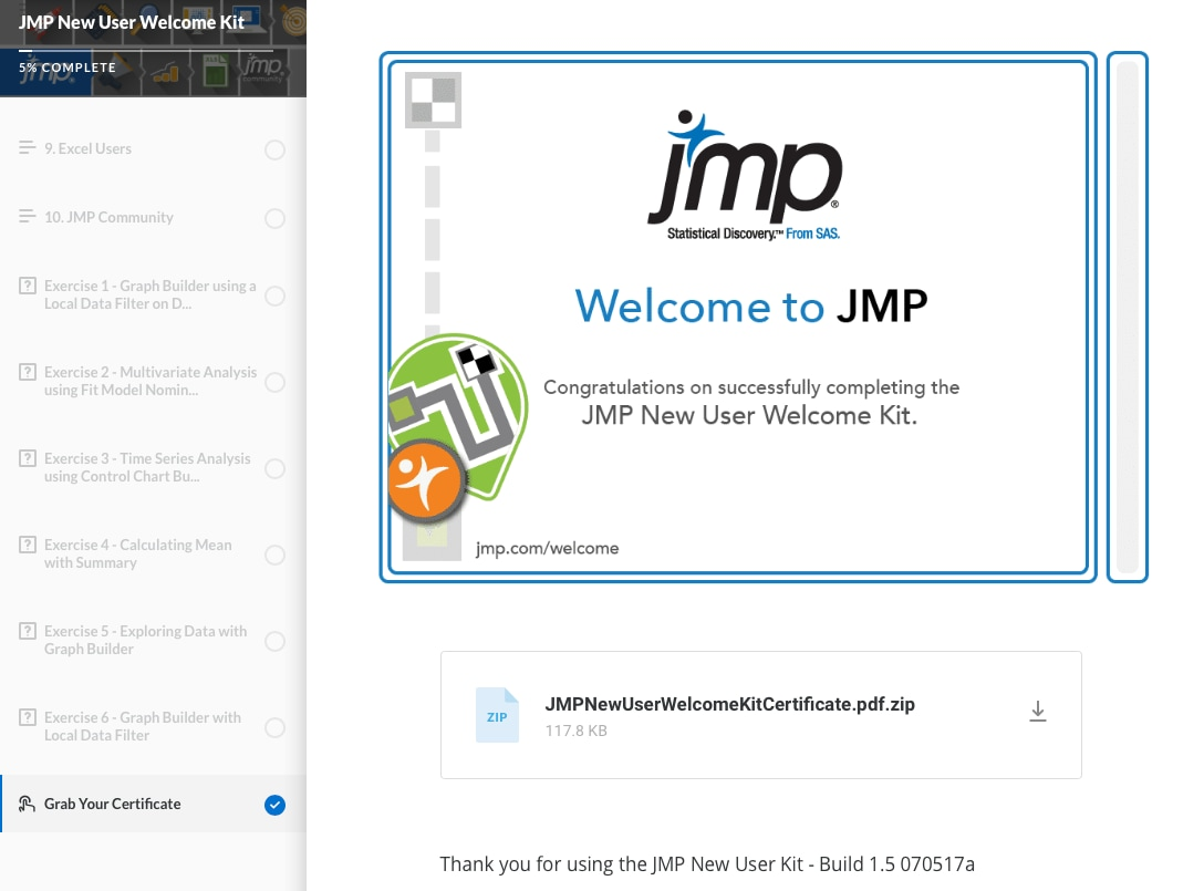 JMP Welcome Kit Certificate