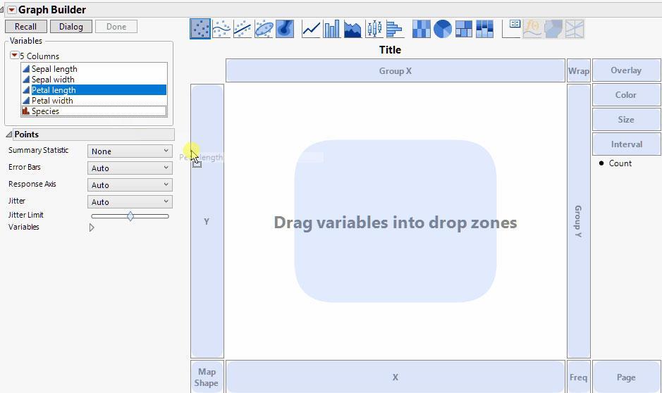 Creación de gráficos con la función de arrastrar y soltar