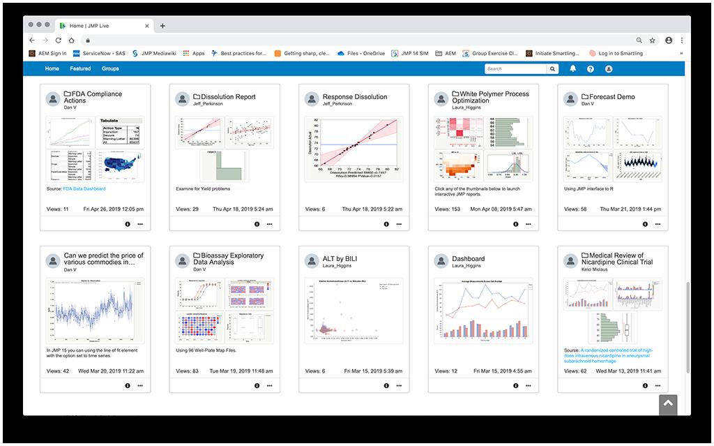 JMP Live y Uso compartido de datos en JMP 15