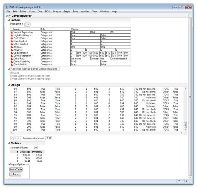 Covering Arrays in JMP Pro 13