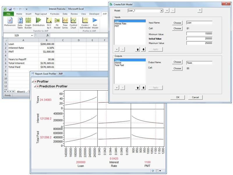 JMP as an analytic hub add-in excel profiler