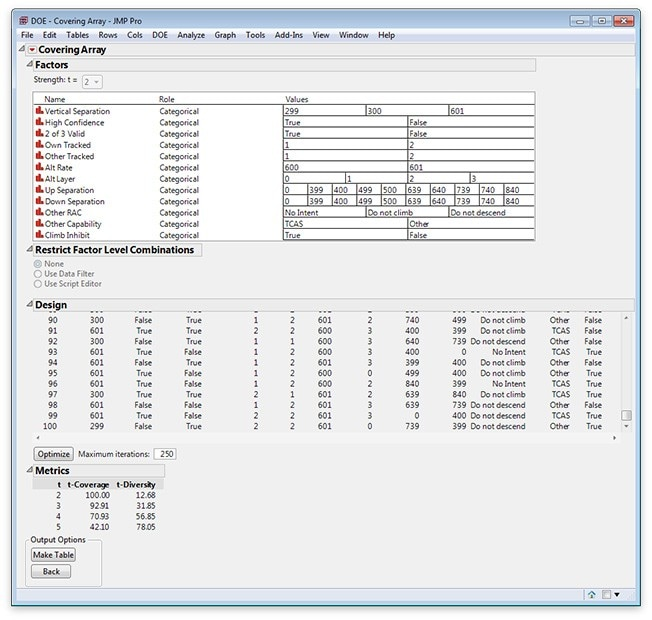 Covering Arrays in JMP Pro 12