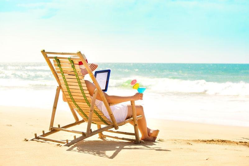 E-reader on Beach