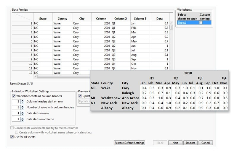 Import and process data excel import wizard