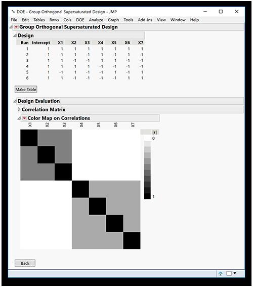 Melhorias da plataforma DOE no JMP 15