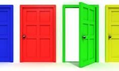 Closed red door next to open green door